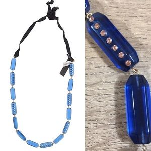 "J.Crew Blue ""Lucite"" Block Long Necklace"